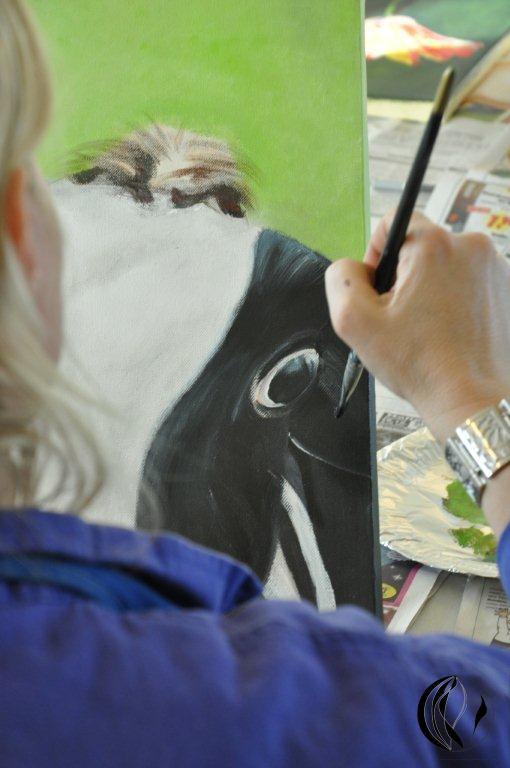 Acrylbildkorrektur- Kuh-Acrylmalerei-Malkurs