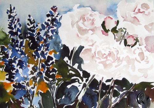 aquarellbild, negativtechnik, weiße rosen - von sonja jannichsen