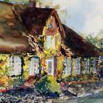 typische Reetdachhäuser in Nordfriesland – Aquarellmalerei