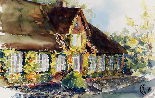 Aquarellmalerei – Reetdachhäuser