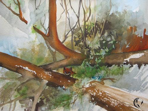 Fuchs in seinem Bau – Aquarell auf Archepapier