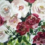 aquarell von roten und weißen rosen - sonja jannichsen