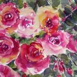 Aquarellbild von pinken rosen - von Sonja Jannichsen