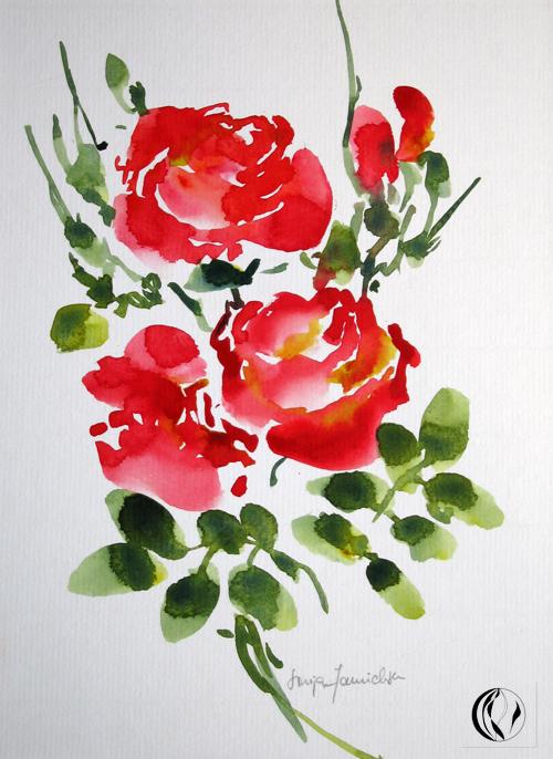 Aquarellbild von roten Rosen - von Sonja Jannichsen