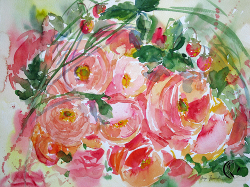 aquarellbild,rosenstrauß in rosa, sonja jannichsen