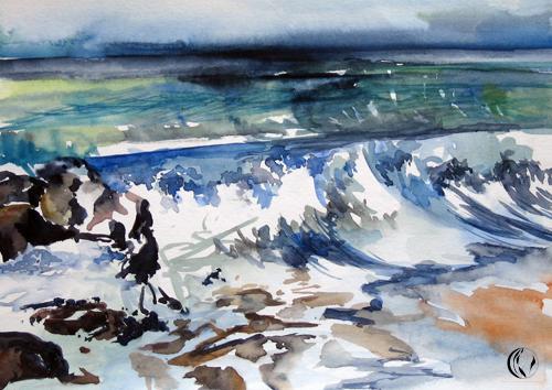 Meeresrauschen auf Sylt – Aquarellmalerei