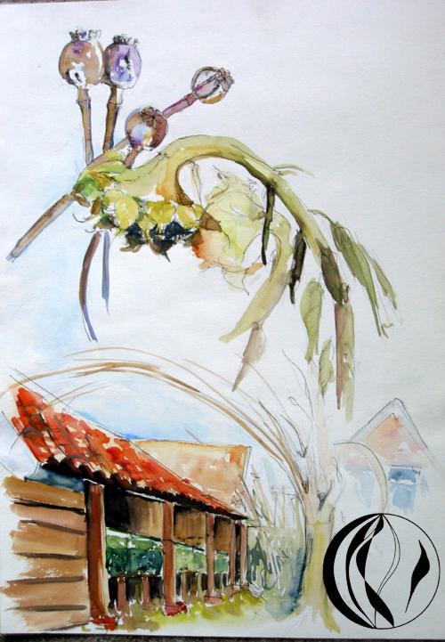 Bienenkästen – Aquarellmalerei
