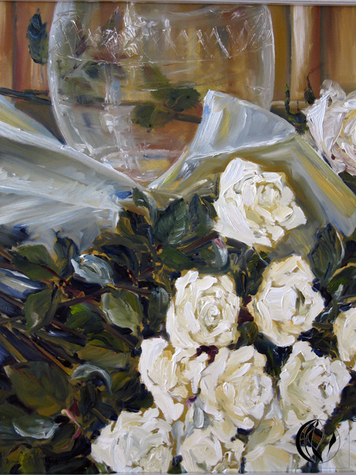 Weiße Rosen – Erinnerungen – Oelmalerei