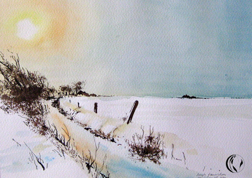 Schnee in Nordfriesland – Aquarell – 2. Advent