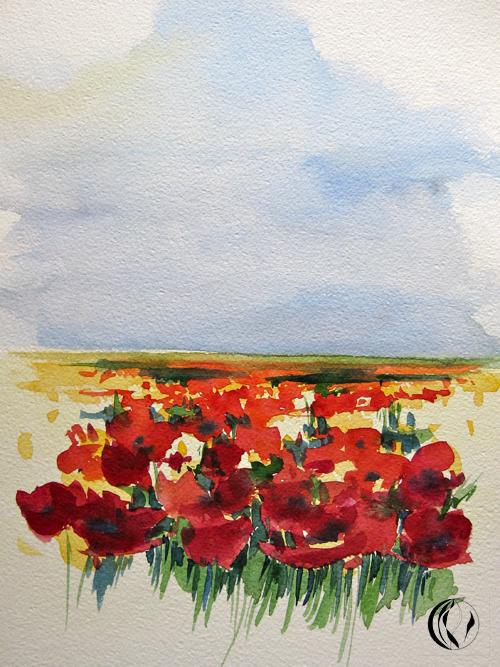 Mohnwiese – Aquarellmalerei für Anfänger