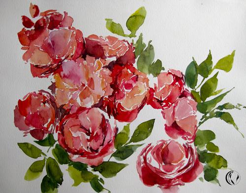 Rosen im November – Aquarell