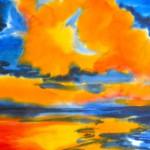 malen_am_meer_oranger_himmel_aquarell