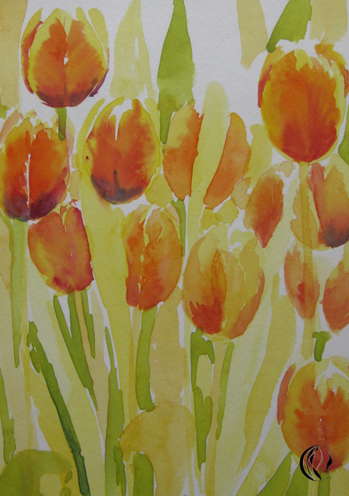 Tulpen – Kaiserkronen – Frühling im Aquarell