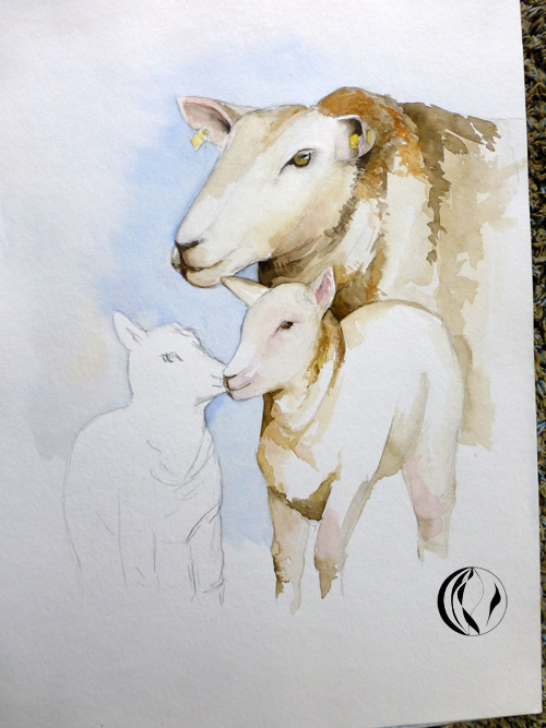 Schafe am Deich – Aquarell