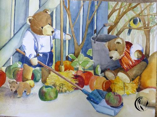 malen_am_meer_weihnachtsmaenner_aquarell_aquarellmalerei_nordfriesland_teddybaeren