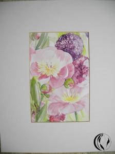 malen_am_meer_aquarell_bauernrose_blume_hallig_blumenstrauss_pink