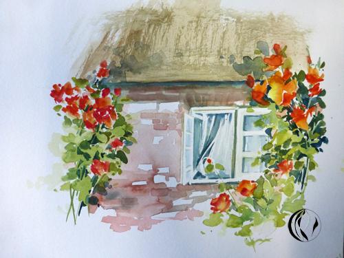 malen_am_meer_weihnachtsmaenner_aquarell_aquarellmalerei_nordfriesland_fenster_rosen