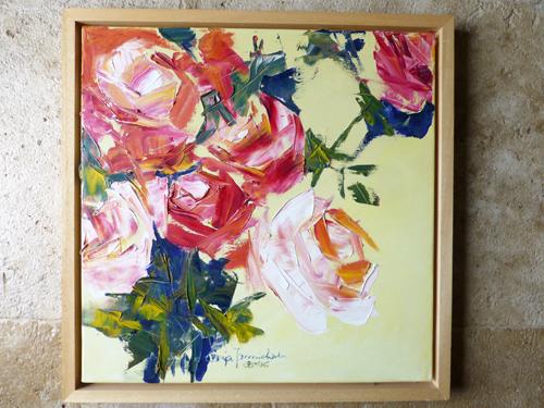 Rosen – Oelbild – Spachtelarbeit