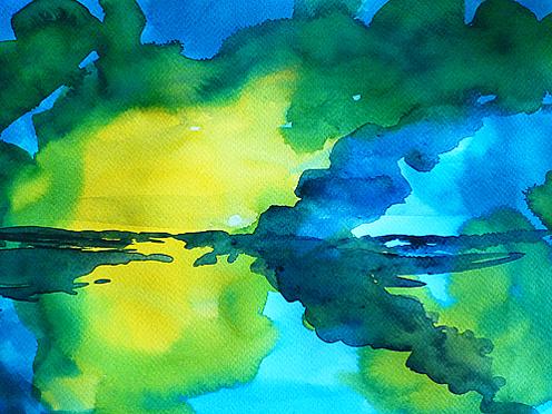 Flüssige Farbe auf Fabriano-Papier.