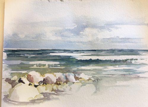 Wellen und Steine malen – Aquarell