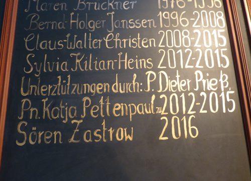 Goldene Schrift – Pastorentafel in Horsbüll